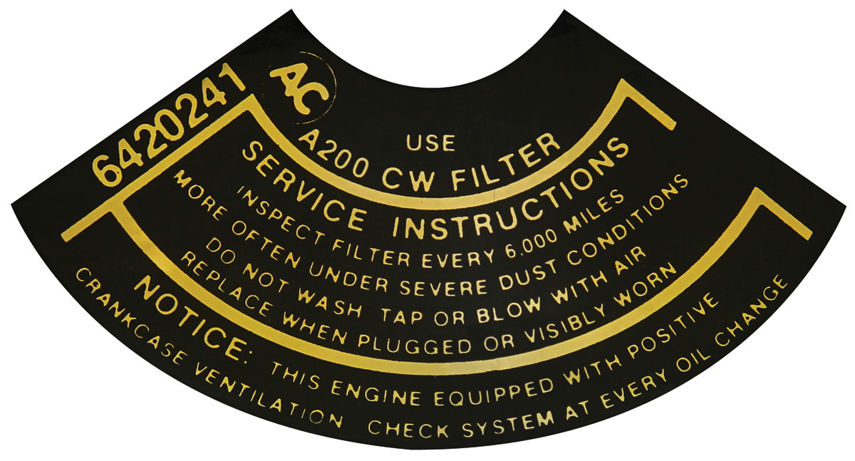 Decal,  Air Filter Service, 1965-66 Corvair w/ Turbo