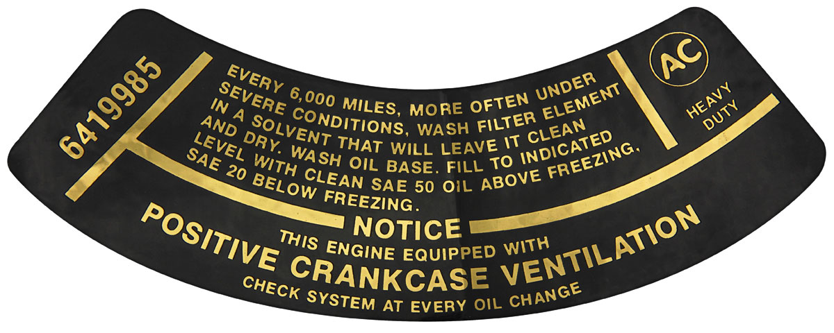 Decal,  Air Filter Service, 1964-69 Corvair/1964-65 FC, w/o AC