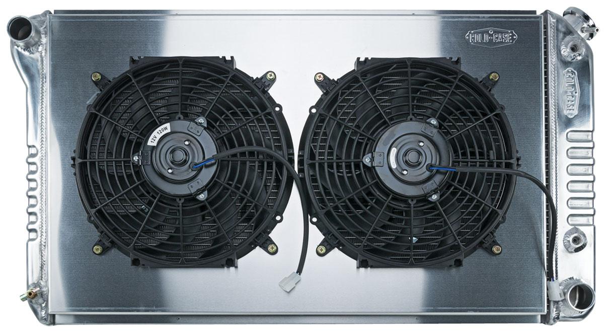 Radiator/Fan Combo, Alum Cold-Case, 68-77 Ch/Mon/Elco, 68-72 GTL/FS/Cut, Auto