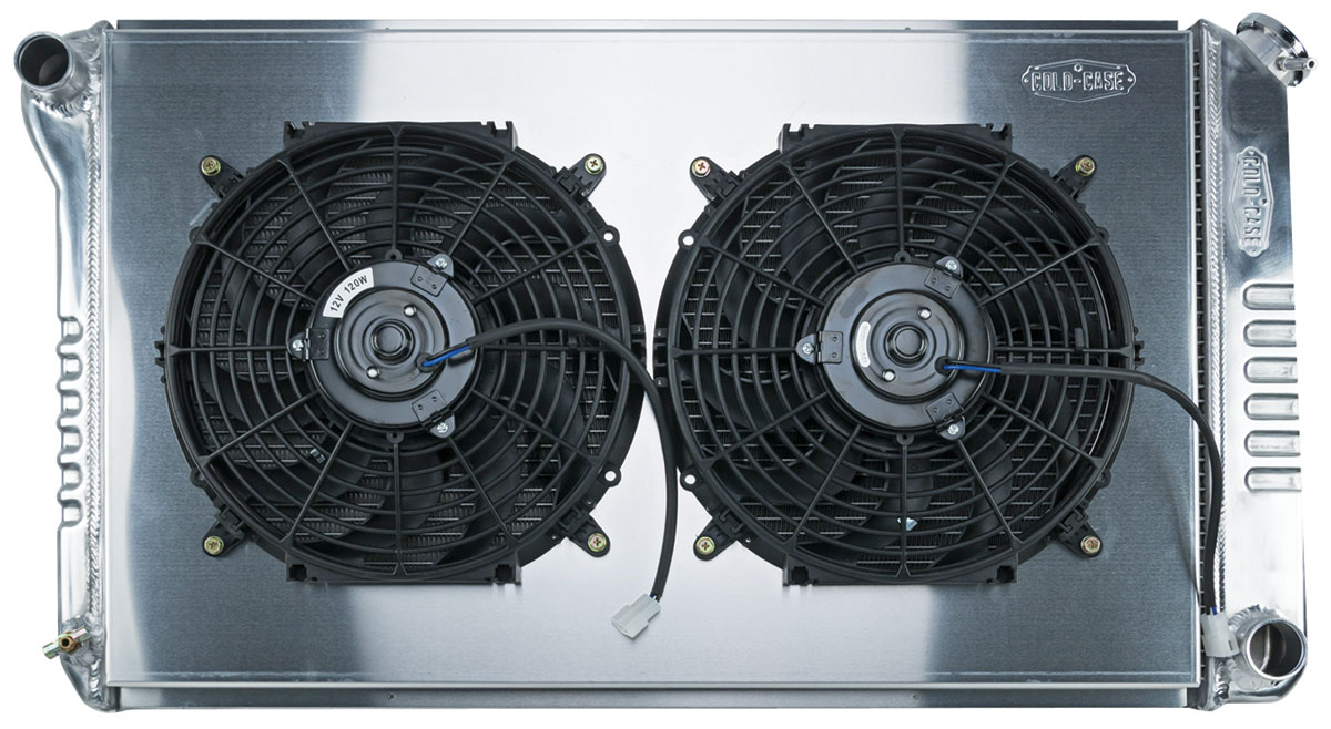 Radiator/Fan Combo, Alum Cold-Case, 68-77 Ch/Mont/Elco, 68-72 GTL/FS/Cut, Man