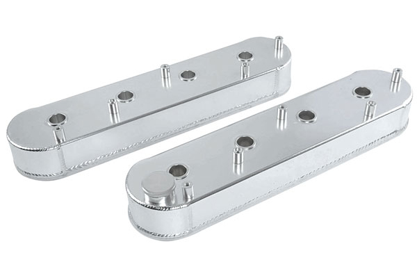 Valve Covers, Tall Aluminum, GM LS Engines, Clear Anodized, w/Coil Mount Bosses