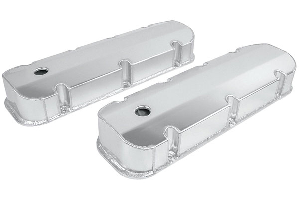 Valve Covers, Tall Fabricated Aluminum, BBC 396-502, Clear Anodized, Baffled