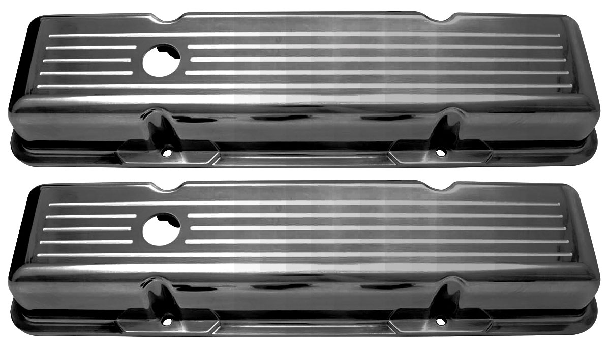 Valve Covers, Aluminum, 1964-86 SB Chevrolet, Baffled, Ball-Milled