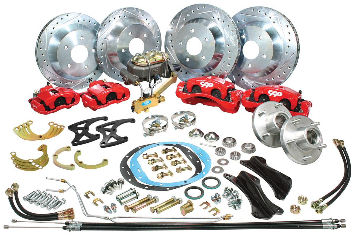 Disc Brake Conversion, Front/Rear, 1968-72 CH/EC, Big Brake, Red Calipers