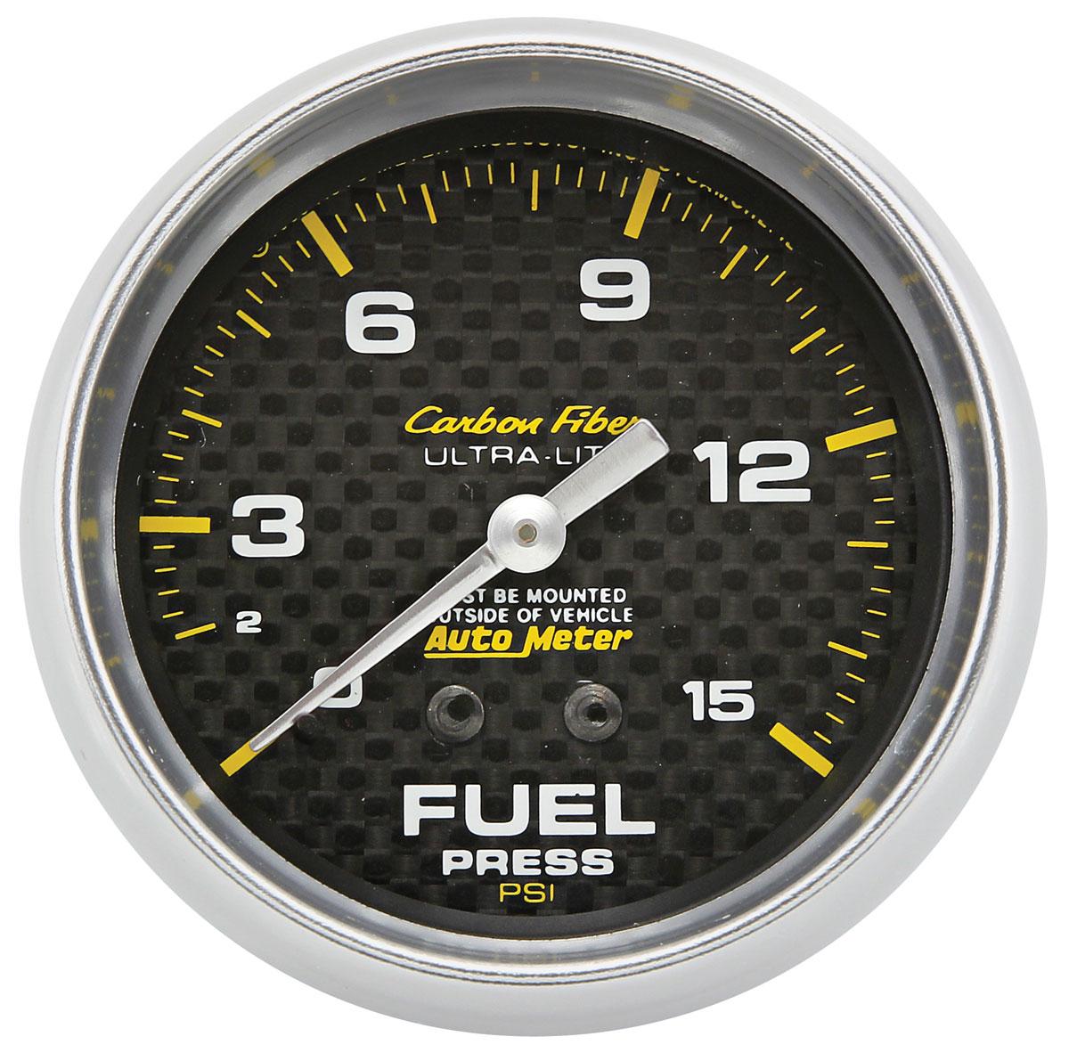 Gauge, Fuel Pressure, Auto Meter, Carbon Fiber, 2-5/8