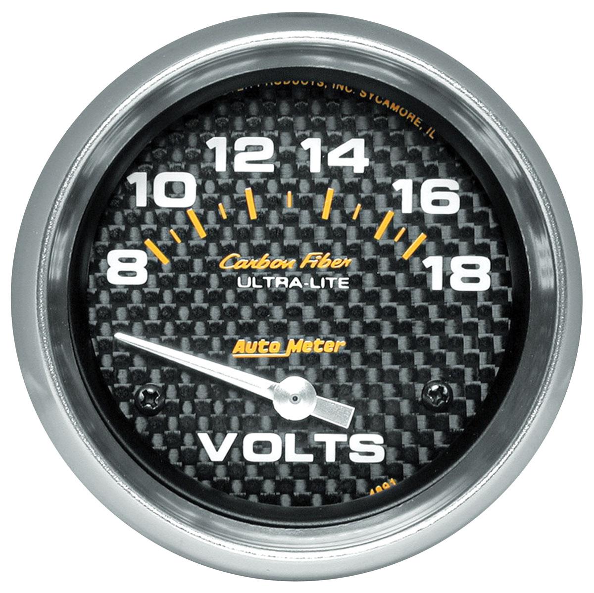 Gauge, Voltmeter, Auto Meter, Carbon Fiber, 2-5/8