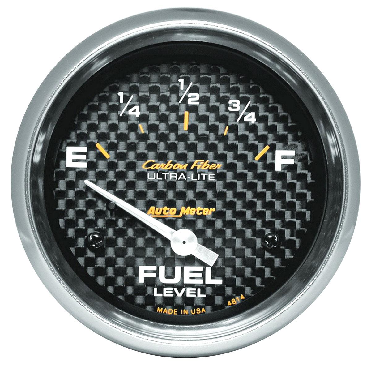 Gauge, Fuel, Auto Meter, Carbon Fiber, 2-5/8