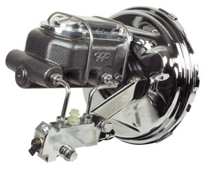 Brake Booster, Chrome, 1964-66 A-Body, w/ Hammertone Finish Master Cylinder