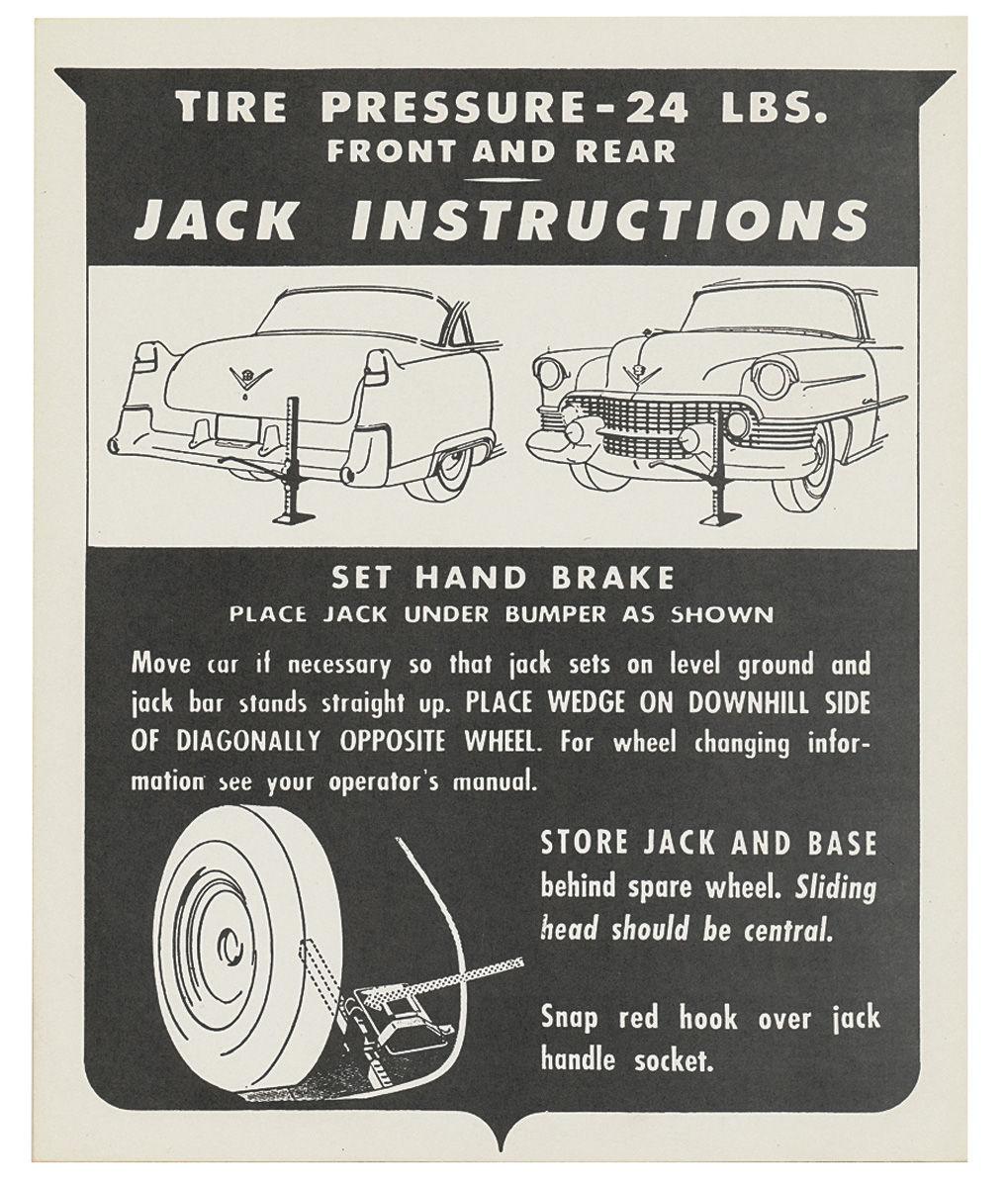 Decal, Jack Instruction Tag, 1951-52 Cadillac