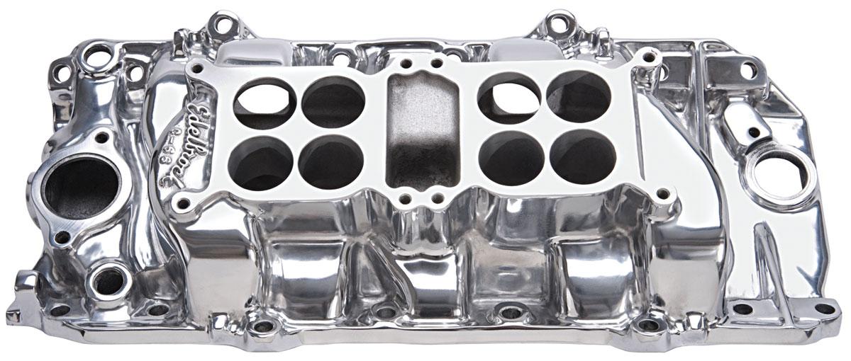 Intake Manifold, Edelbrock, C-66 Dual Quad, BB Chevy, Oval Port, Polished