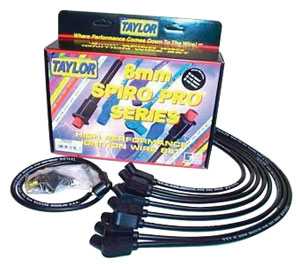 Spark Plug Wires, Spiro-Pro, Taylor, BB Under Header, Black, 90-Degree, HEI