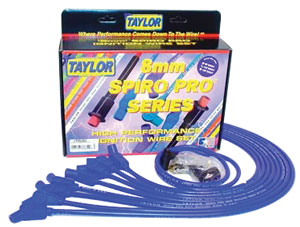 Spark Plug Wires, Spiro-Pro, Taylor, BB Over VC, Blue, 135-Degree, HEI