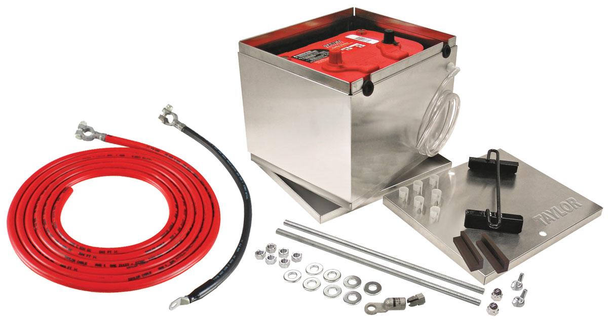 Battery Box, Aluminum, Taylor, w/ Logo & 16' 2-Gauge Cables
