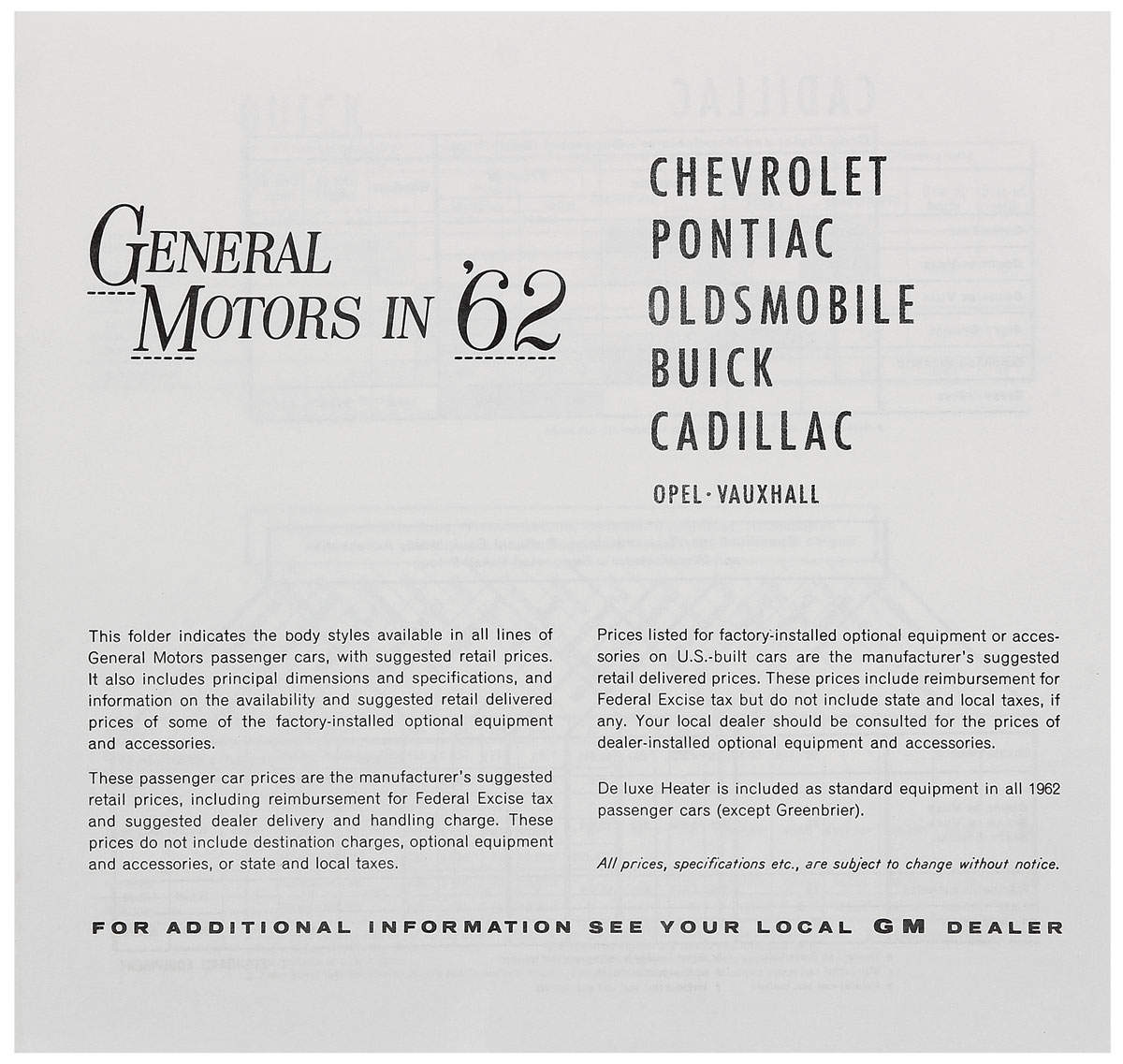 Price List, 1962 GM All, MSRP