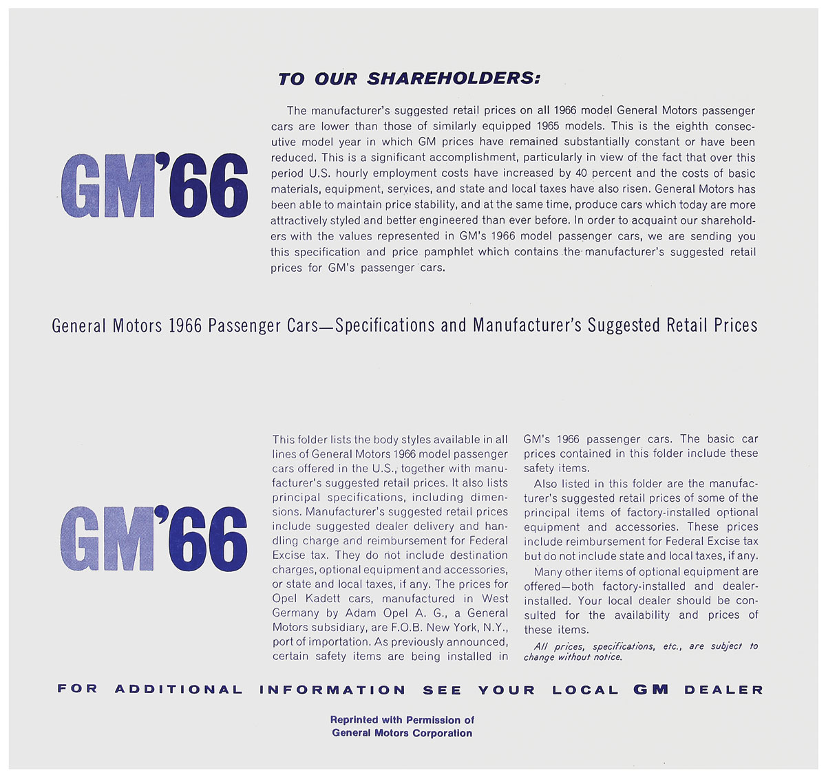 Price List, 1966 GM All, MSRP