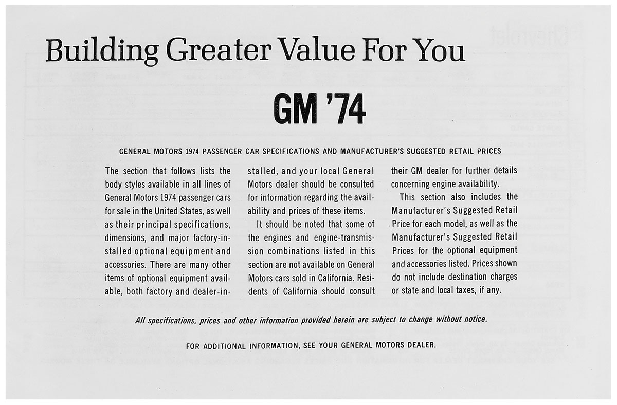 Price List, 1974 GM All, MSRP