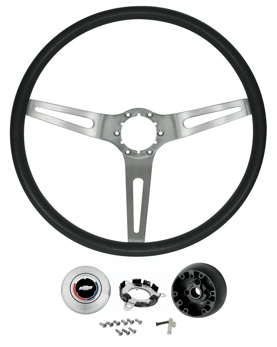 Steering Wheel Kit, 3-Spoke, 1967-68 Chevelle/Elco, 67-69 Corvair, Brushed