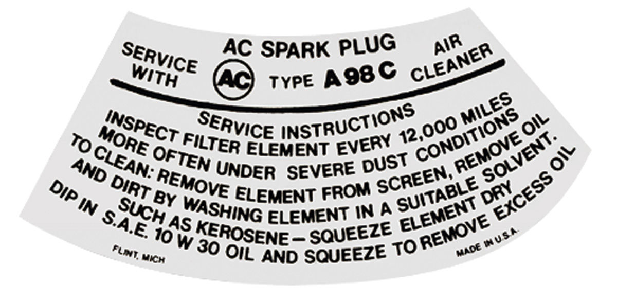 Decal, 59-64 Pontiac, Air Cleaner, Service Instructions, Red, A96C