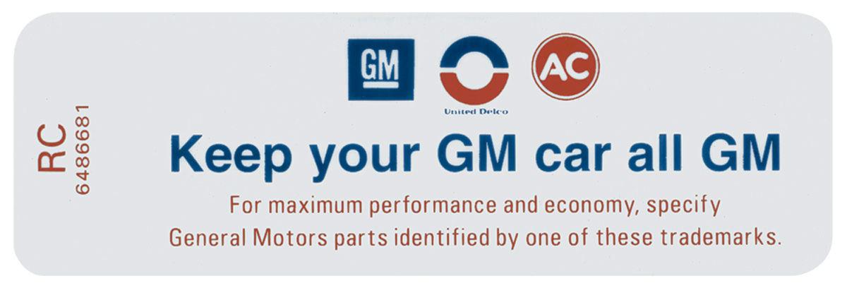 Decal, 76 Pontiac, 2V, Keep Your GM Car All GM, 8995165, EY