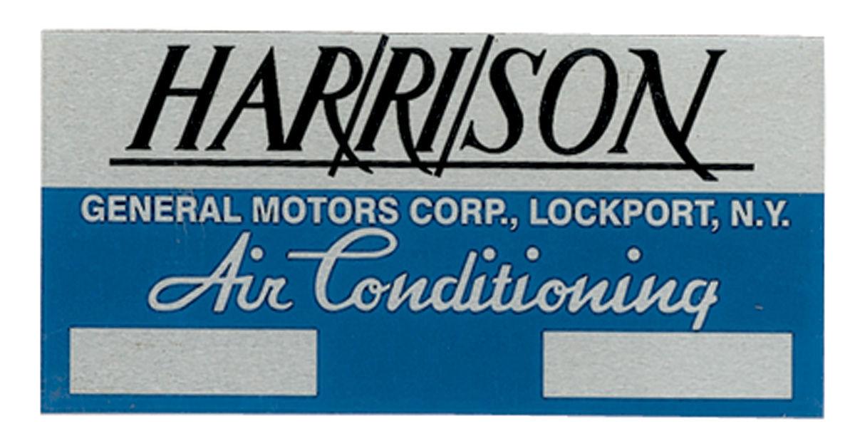 Decal, 73 GM, Evaporator Box, Harrison Air Conditioning, EBA7073B