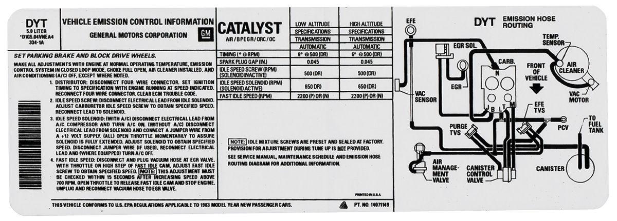 Decal, 78 GM G Body, Emissions, 305U, High Altitude, CY, 472884