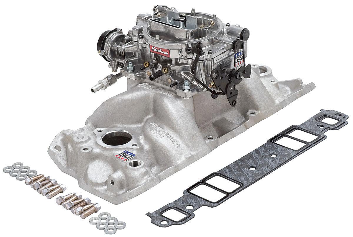 Edelbrock Manifold/Carb Kit, Small Block, Perf Air Gap/Thunder 800 Carb