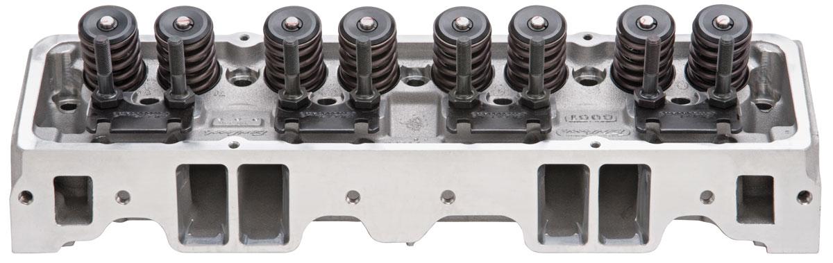 Cylinder Head, Edelbrock, E-Series, Aluminum, SB Chevy, 70CC, Straight Plugs