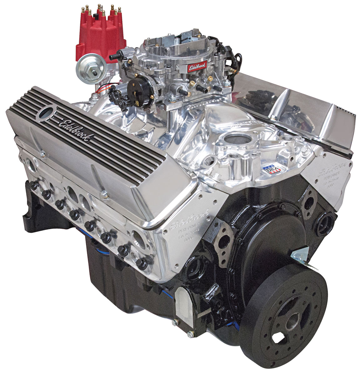 Crate Engine, Performer, Edelbrock, Chevrolet 350 Air-Gap, w/o Water Pump, Satin