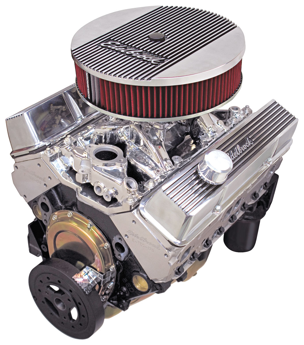 Crate Engine, RPM E-TEC, Edelbrock, Chevy 350, Long Water Pump, Polished