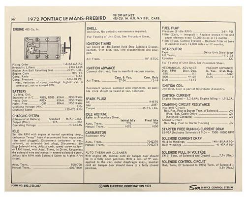 Tune-Up Sheets; 1972 Pontiac, V8 455, 4bbl/300hp