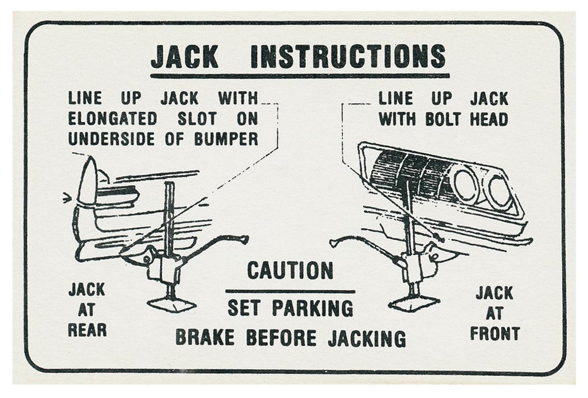 Decal, 69-70 Bonneville, Catalina, 69 Grand Prix, Jacking Instructions