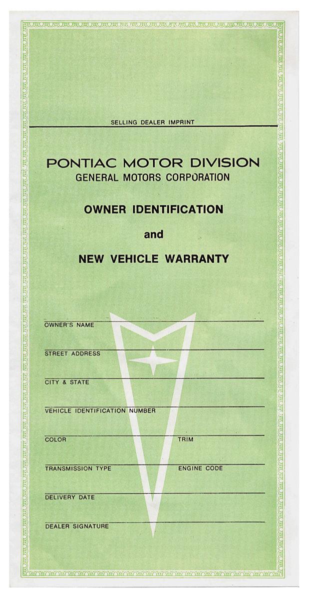 Card, 1959 Bonn/Cat, Vehicle Warranty & Owners ID
