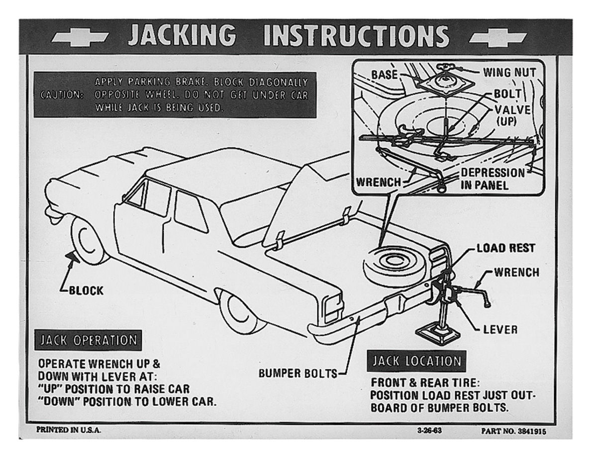 Decal, 1976-77 Chevelle/Monte Carlo, Jacking Instruction