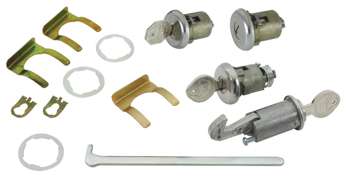 Lock Set, Glove Box/Trunk/Doors, 1961-62 Bonn/Cat/GP, w/ Flat Pawl, Orig Keys