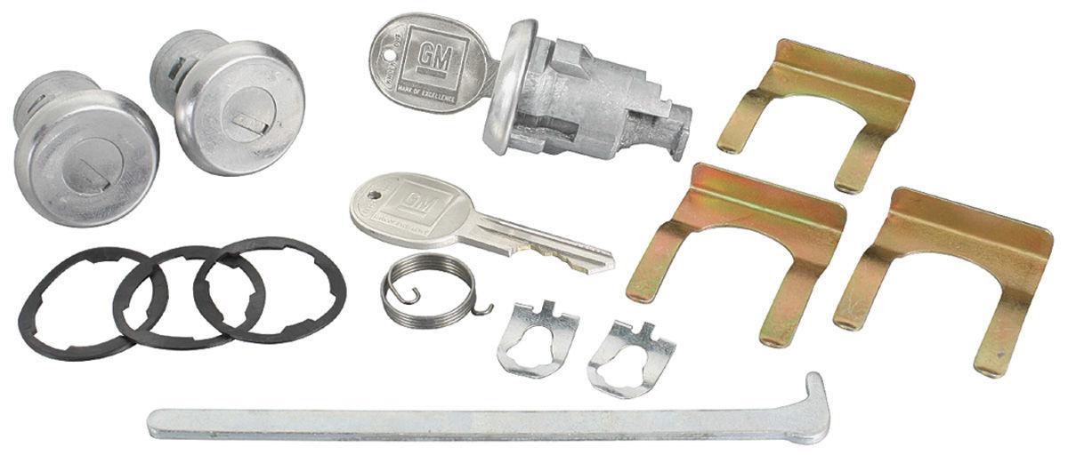 Lock Set, Doors/Trunk, 1961-64 Bonn/Cat/GP, w/ Long Cylinder, w/ Orig Keys