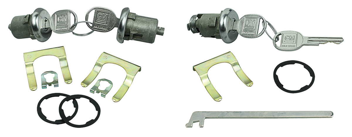 Lock Set, Doors/Trunk, 1961-64 Bonn/Cat/GP, w/ Flat Pawl, w/ Orig Style Keys