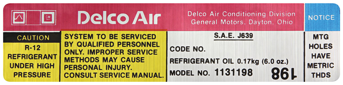 Decal, 79 GM G Body, Air Conditioning Compressor, Delco, # 1131198