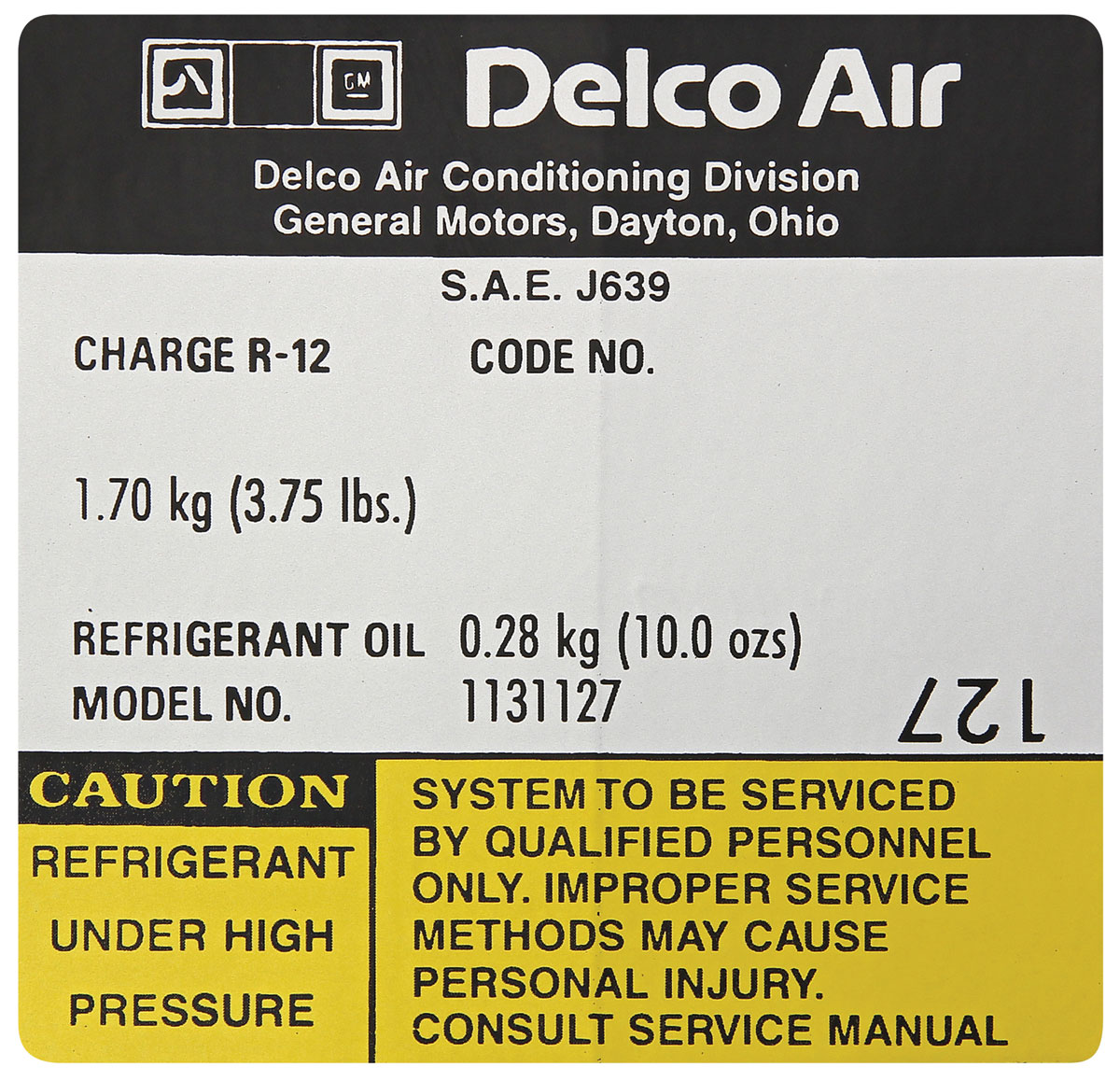 Decal, AC Compressor, 1978 G-Body, Delco, #1131127