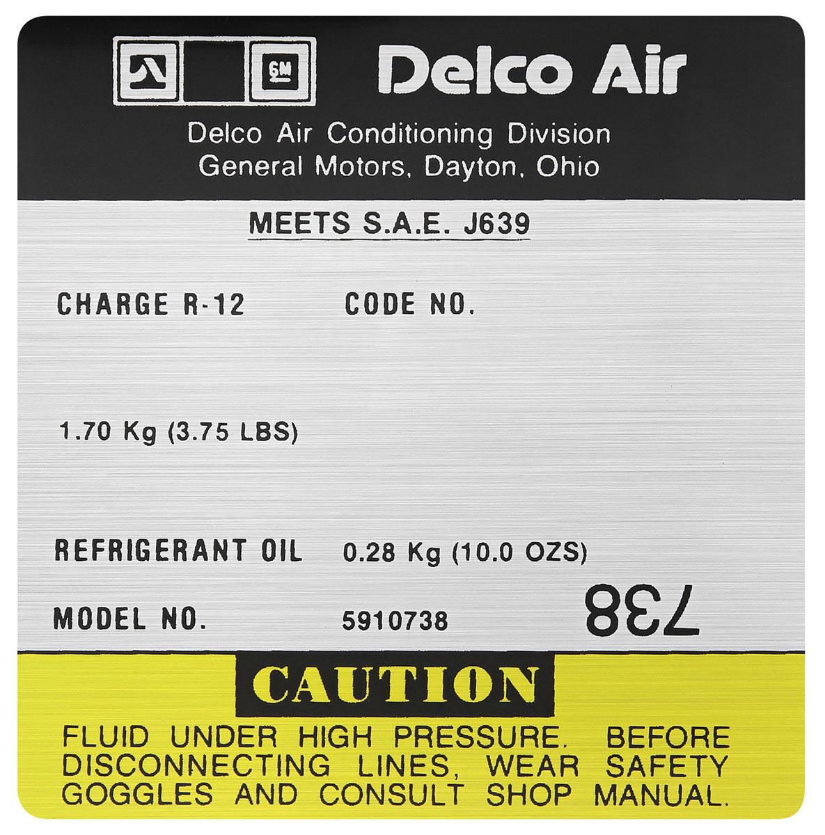 Decal, AC Compressor, 1980-81 G-Body, Delco, #5910738