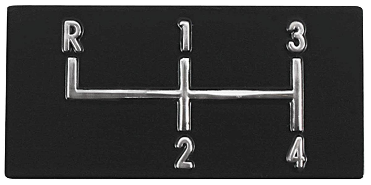 Console, SHIFT PATTERN PLATE, 1968-72 Chevelle/El Camino/Monte, 4 Speed
