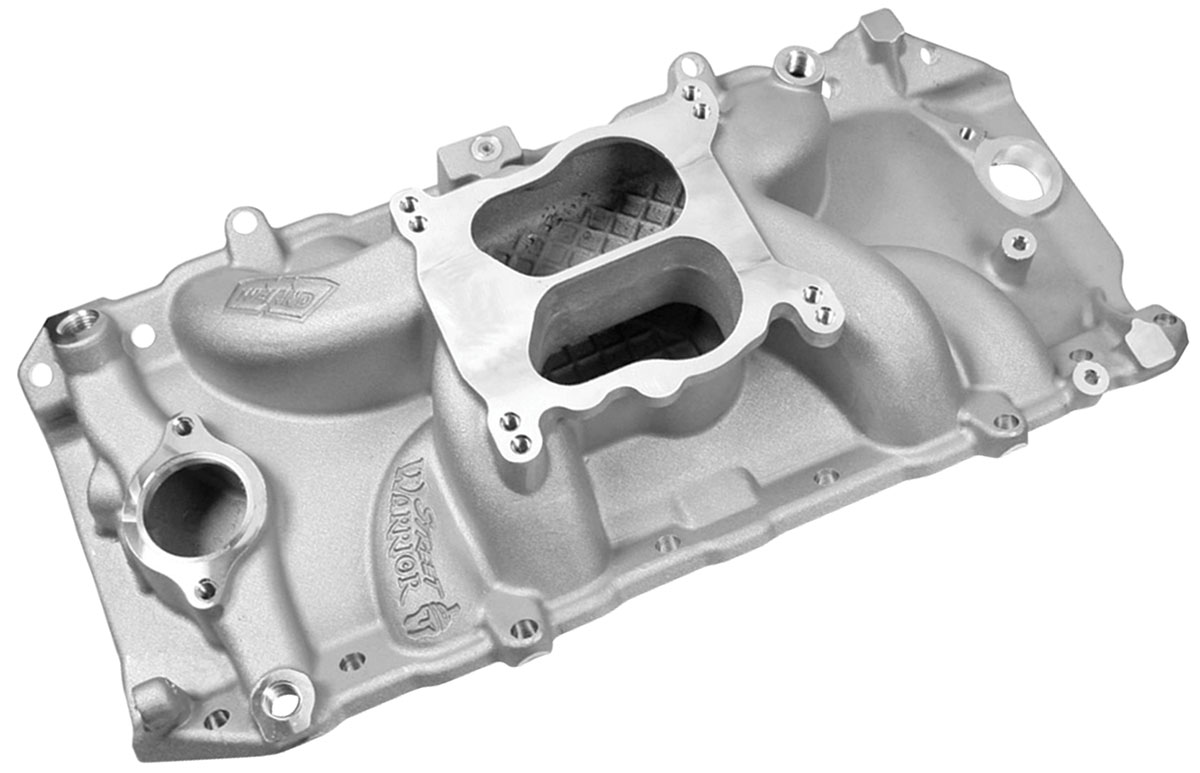 Intake Manifold, Weiand, Street Warrior, BB Chevy, Peanut Port, Natural