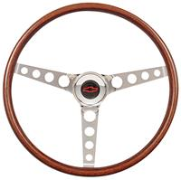 Steering Wheel Kit, 69-88 Chevy, Classic Wood, Tall Cap, Plain, Red Bowtie