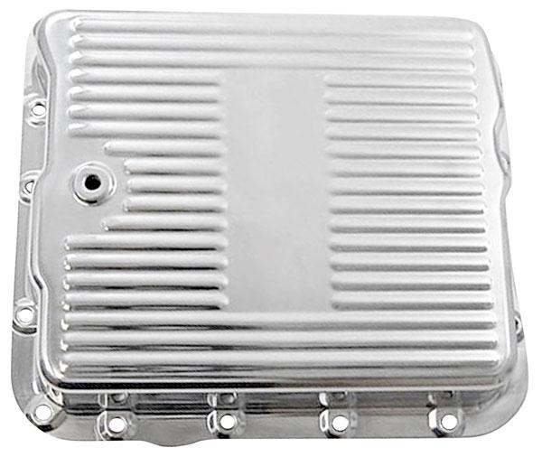 Transmission Pan, Polished Finned Aluminum, 700R4/4L60E, w/Gasket & Hardware