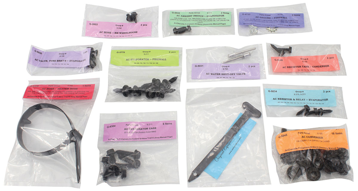 Fastener Set, Air Conditioning, 1970-72 CHEVELLE/EL CAMINO, Pre-Firewall, ALL
