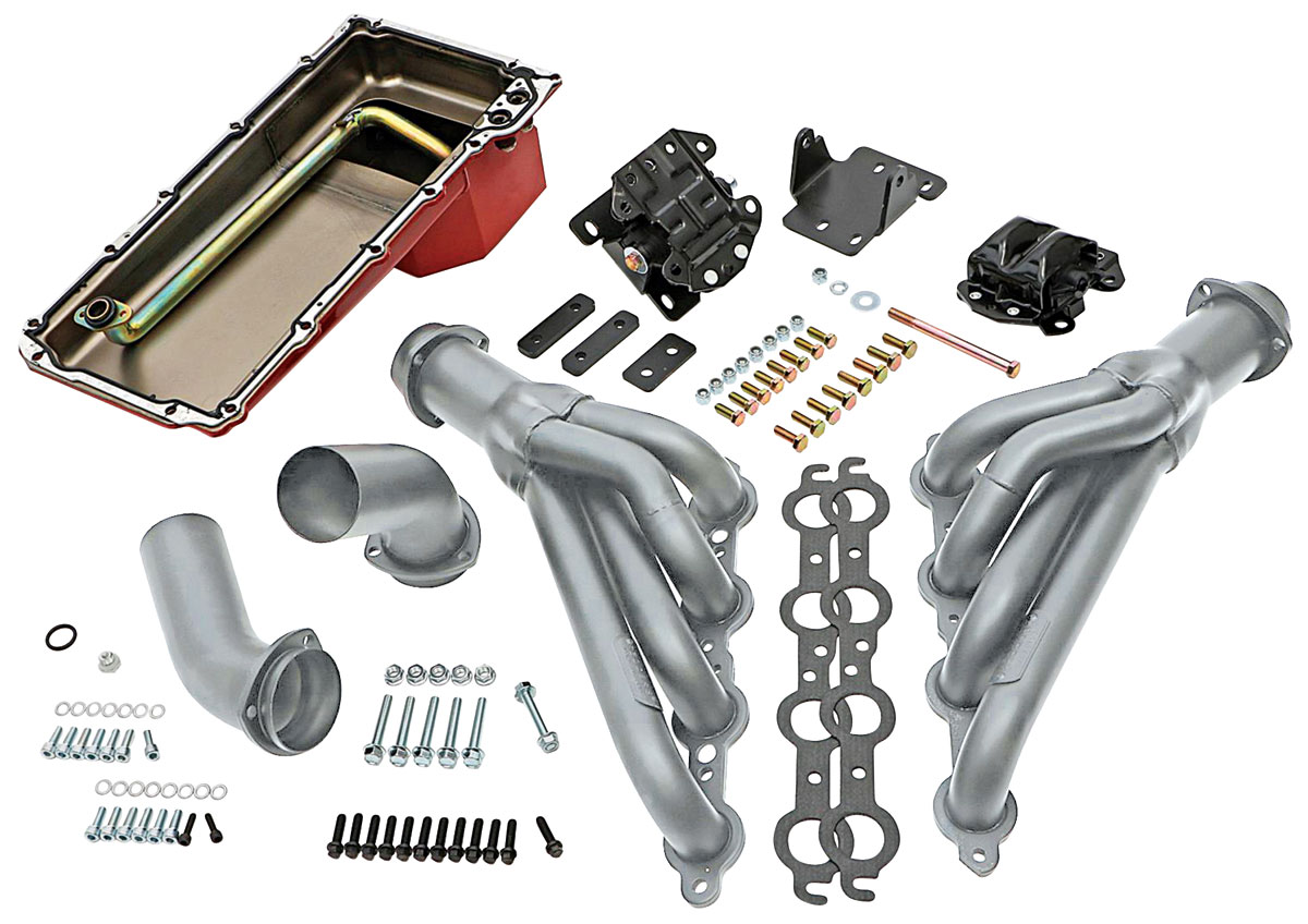 LS Engine Swap, 1968-72 A-Body, Kit, mid-length headers, TH350/TH400