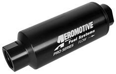 "Fuel Filter, Inline, Aeromotive, 100-micron, ORB-12 Port, Plat Series, 2-1/2"" OD"