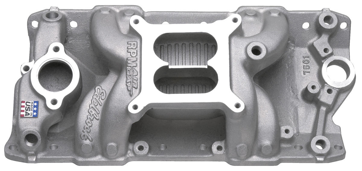 Intake Manifold, RPM Air-Gap, Edelbrock, BB Chevy, Rectangular/Non-EGR, Satin