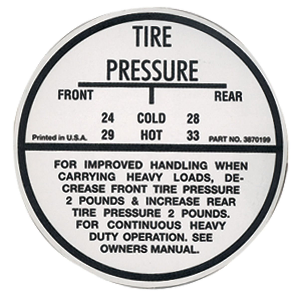 Decal, 72 El Camino, Tire Pressure, Except SS