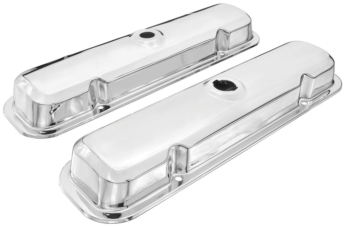 Valve Covers, 1964 Pontiac, Chrome, Late Style