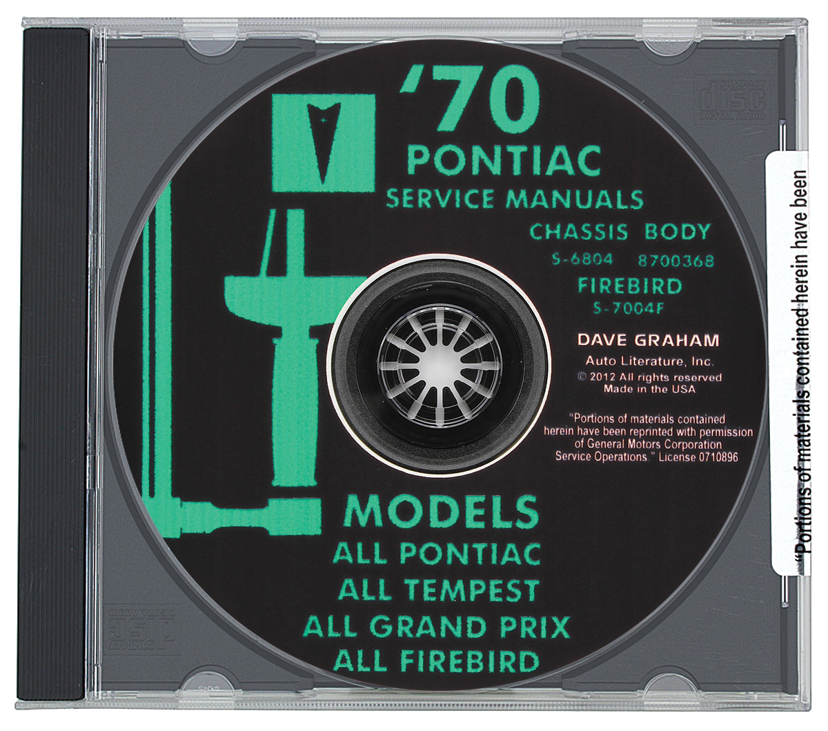 Factory Manuals, CD-ROM, 1970 Pontiac